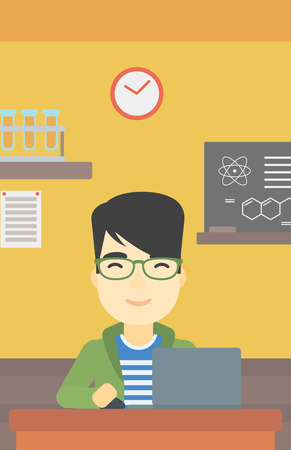 asian man laptop: An asian young student sitting at the table and working on laptop. Man working on a laptop on the background of chemistry class . Vector flat design illustration. Vertical layout. Illustration