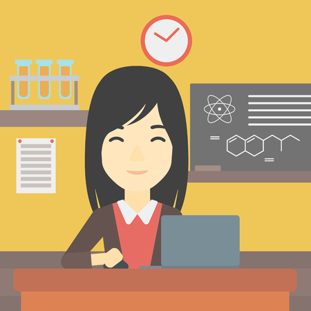 computer education: An asian young student sitting at the table and working on laptop. Woman working on a laptop on the background of chemistry class . Vector flat design illustration. Square layout. Illustration