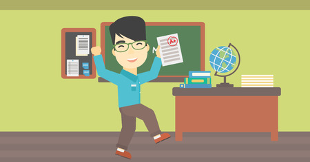 An asian happy student holding a sheet with the highest mark. Student showing test with A grade in the classroom. Student received best mark. Vector flat design illustration. Horizontal layout. Ilustração