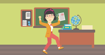 received: An asian happy student holding a sheet with the highest mark. Student showing test with A grade in the classroom. Student received best mark. Vector flat design illustration. Horizontal layout. Illustration