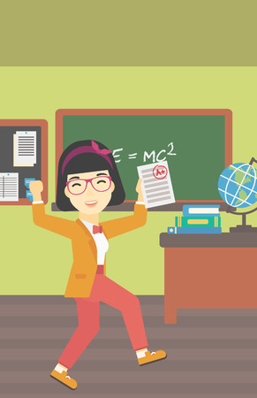 received: An asian happy student holding a sheet with the highest mark. Student showing test with A grade in the classroom. Student received best mark. Vector flat design illustration. Vertical layout.