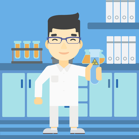 An asian scientist holding a test tube with biohazard sign. Scientist examining a test tube in a chemical laboratory. Vector flat design illustration. Square layout. Illustration