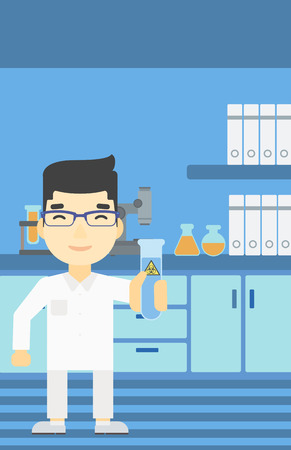 An asian scientist holding a test tube with biohazard sign. Scientist examining a test tube in a chemical laboratory. Vector flat design illustration. Vertical layout.