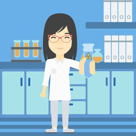 female scientist: An asian female scientist holding a test tube with biohazard sign. Scientist examining a test tube in a chemical laboratory. Vector flat design illustration. Square layout.