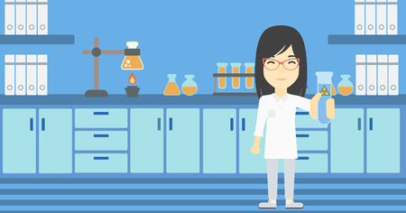 biohazard sign: An asian female scientist holding a test tube with biohazard sign. Scientist examining a test tube in a chemical laboratory. Vector flat design illustration. Horizontal layout. Illustration