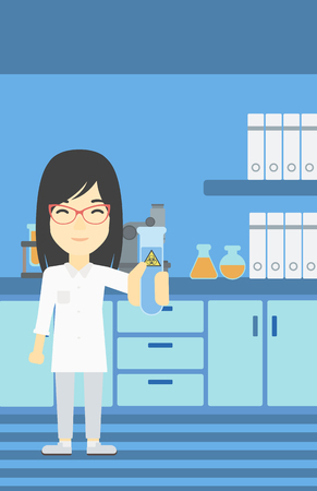 female scientist: An asian female scientist holding a test tube with biohazard sign. Scientist examining a test tube in a chemical laboratory. Vector flat design illustration. Vertical layout. Illustration