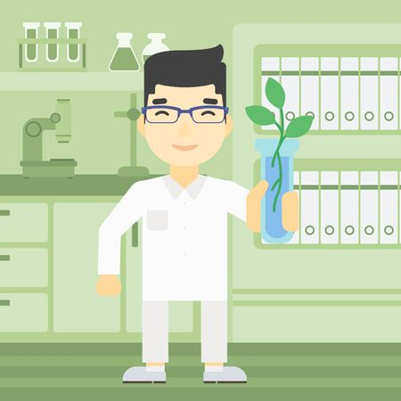 test tube: An asian scientist holding test tube with young plant. Scientist analyzing plant in test tube. Scientist holding test tube with sprout. Vector flat design illustration. Square layout. Illustration
