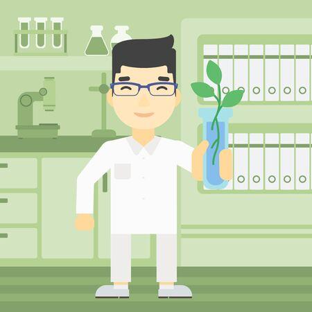 Een Aziatische Wetenschapper die reageerbuis met jonge plant. Scientist analyseren fabriek in reageerbuis. Wetenschapper die reageerbuis met spruit. Vector platte ontwerp illustratie. Vierkante lay-out.