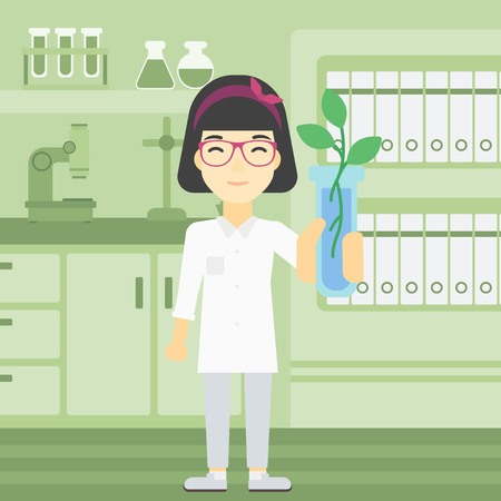 female scientist: An asian female scientist holding test tube with young plant. Scientist analyzing plant in test tube. Scientist holding test tube with sprout. Vector flat design illustration. Square layout. Illustration