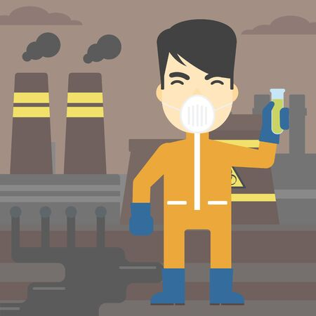 protective suit: An asian scientist in radiation protective suit. Man holding a test-tube with some liquid on a background of nuclear power plant. Vector flat design illustration. Square layout.