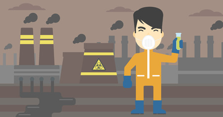 radiation suit: An asian scientist in radiation protective suit. Man holding a test-tube with some liquid on a background of nuclear power plant. Vector flat design illustration. Horizontal layout. Illustration