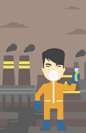 testtube: An asian scientist in radiation protective suit. Man holding a test-tube with some liquid on a background of nuclear power plant. Vector flat design illustration. Vertical layout.