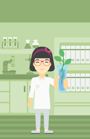 female scientist: An asian female scientist holding test tube with young plant. Scientist analyzing plant in test tube. Scientist holding test tube with sprout. Vector flat design illustration. Vertical layout.