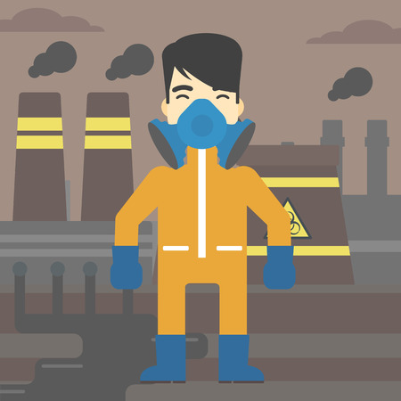 An asian man wearing gas mask and radiation protective suit. Man in radiation protective suit on a background of nuclear power plant. Vector flat design illustration. Square layout. Ilustração