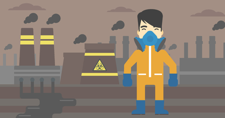 gas man: An asian man wearing gas mask and radiation protective suit. Man in radiation protective suit on a background of nuclear power plant. Vector flat design illustration. Horizontal layout.