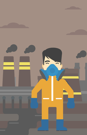 protective suit: An asian man wearing gas mask and radiation protective suit. Man in radiation protective suit on a background of nuclear power plant. Vector flat design illustration. Vertical layout. Illustration