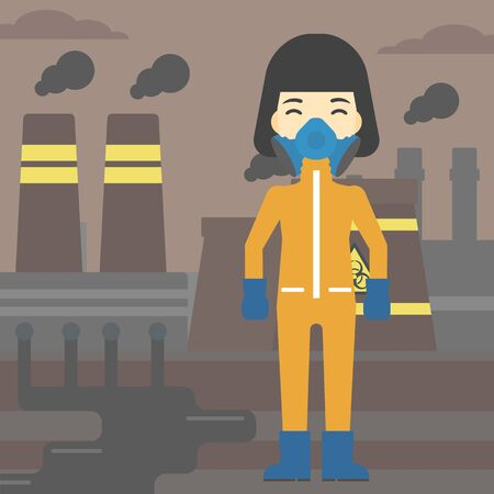 female scientist: An asian woman wearing gas mask and radiation protective suit. Woman in radiation protective suit on a background of nuclear power plant. Vector flat design illustration. Square layout.