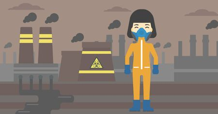 protective suit: An asian woman wearing gas mask and radiation protective suit. Woman in radiation protective suit on a background of nuclear power plant. Vector flat design illustration. Horizontal layout.
