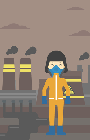 An asian woman wearing gas mask and radiation protective suit. Woman in radiation protective suit on a background of nuclear power plant. Vector flat design illustration. Vertical layout. Ilustrace