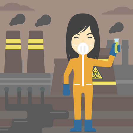 protective suit: An asian scientist in radiation protective suit. Woman holding a test-tube with some liquid on a background of nuclear power plant. Vector flat design illustration. Square layout.