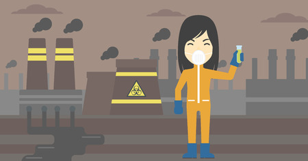 testtube: An asian scientist in radiation protective suit. Woman holding a test-tube with some liquid on a background of nuclear power plant. Vector flat design illustration. Horizontal layout.