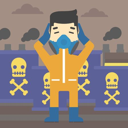 caution chemistry: An asian man in mask and radiation protective suit clutching head while standing on a background of radioactive barrel. Vector flat design illustration. Square layout. Illustration