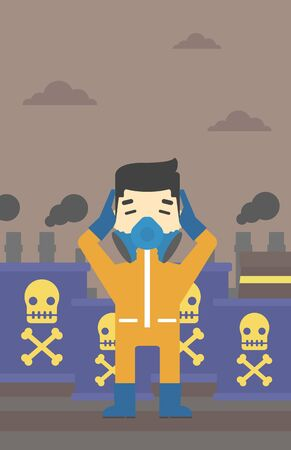 caution chemistry: An asian man in mask and radiation protective suit clutching head while standing on a background of radioactive barrel. Vector flat design illustration. Vertical layout.