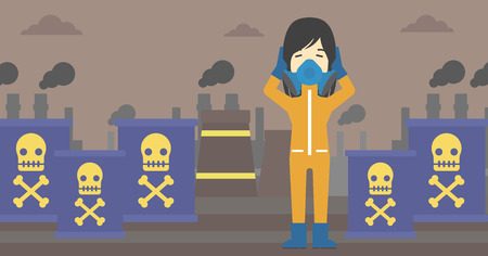 protective suit: An asian woman in mask and radiation protective suit clutching head while standing on a background of radioactive barrel. Vector flat design illustration. Horizontal layout.
