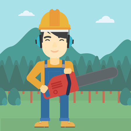 devastation: An asian lumberjack in helmet holding a chainsaw on a forest background. Vector flat design illustration. Square layout. Illustration