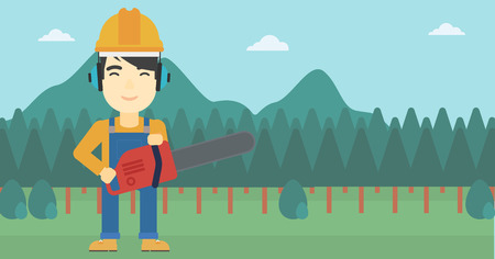 An asian lumberjack in helmet holding a chainsaw on a forest background. Vector flat design illustration. Horizontal layout. Illustration