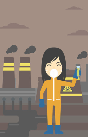 testtube: An asian scientist in radiation protective suit. Woman holding a test-tube with some liquid on a background of nuclear power plant. Vector flat design illustration. Vertical layout.