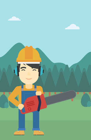 devastation: An asian lumberjack in helmet holding a chainsaw on a forest background. Vector flat design illustration. Vertical layout.