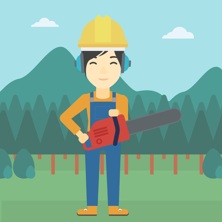 An asian female lumberjack in helmet holding a chainsaw on a forest background. Vector flat design illustration. Square layout. Illustration