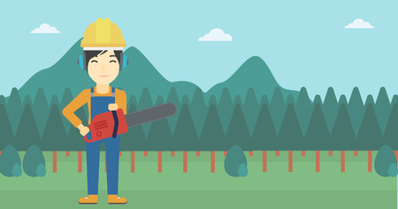 devastation: An asian female lumberjack in helmet holding a chainsaw on a forest background. Vector flat design illustration. Horizontal layout.