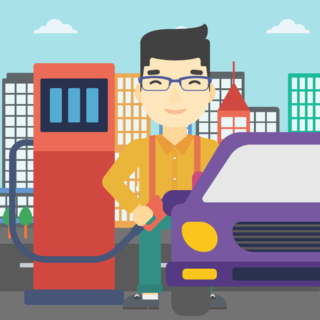 litre: An asian man filling up fuel into the car. Man standing at the gas station and refueling a car. Vector flat design illustration. Square layout.