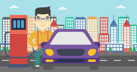 refueling: An asian man filling up fuel into the car. Man standing at the gas station and refueling a car. Vector flat design illustration. Horizontal layout.