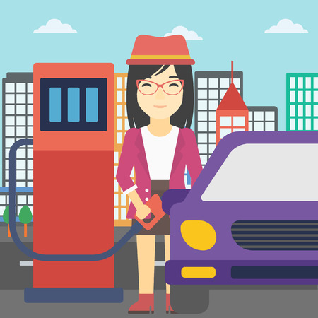 refilling: An asian woman filling up fuel into the car. Woman standing at the gas station and refueling a car. Vector flat design illustration. Square layout.