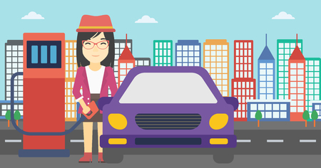 filling station: An asian woman filling up fuel into the car. Woman standing at the gas station and refueling a car. Vector flat design illustration. Horizontal layout.