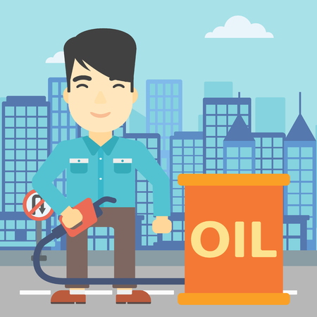 gas man: An asian man standing near oil barrel. Man holding gas pump nozzle on a city background. Man with gas pump and oil barrel. Vector flat design illustration. Square layout.