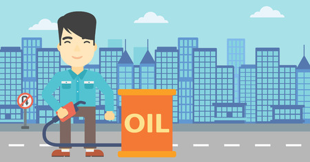 oil barrel: An asian man standing near oil barrel. Man holding gas pump nozzle on a city background. Man with gas pump and oil barrel. Vector flat design illustration. Horizontal layout.