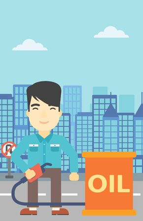gas man: An asian man standing near oil barrel. Man holding gas pump nozzle on a city background. Man with gas pump and oil barrel. Vector flat design illustration. Vertical layout.