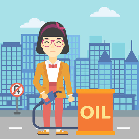 refilling: An asian woman standing near oil barrel. Woman holding gas pump nozzle on a city background. Woman with gas pump and oil barrel. Vector flat design illustration. Square layout.