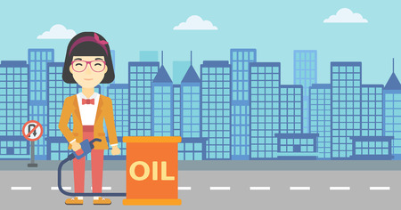 barril de petr�leo: An asian woman standing near oil barrel. Woman holding gas pump nozzle on a city background. Woman with gas pump and oil barrel. Vector flat design illustration. Horizontal layout. Vectores