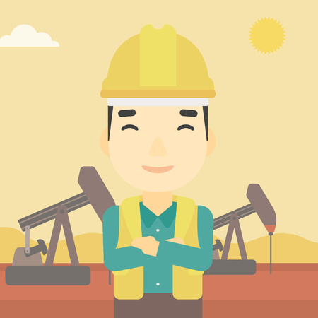 trabajador petroleros: An asian oil worker in uniform and helmet. An oil worker with crossed arms. An oil worker standing on a background of pump jack. Vector flat design illustration. Square layout.