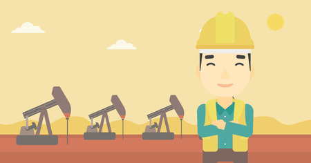 trabajador petroleros: An asian oil worker in uniform and helmet. An oil worker with crossed arms. An oil worker standing on a background of pump jack. Vector flat design illustration. Horizontal layout.