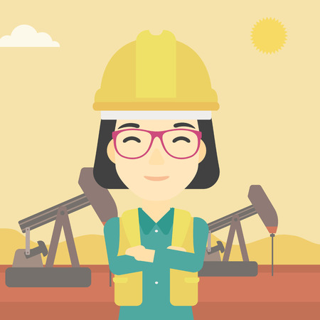 trabajador petroleros: An asian female oil worker in uniform and helmet. An oil worker with crossed arms. An oil worker standing on a background of pump jack. Vector flat design illustration. Square layout. Vectores