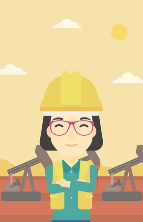 oil worker: An asian female oil worker in uniform and helmet. An oil worker with crossed arms. An oil worker standing on a background of pump jack. Vector flat design illustration. Vertical layout.