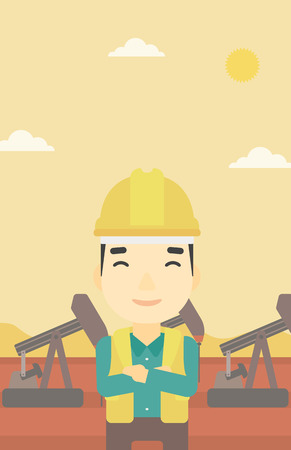 oil worker: An asian oil worker in uniform and helmet. An oil worker with crossed arms. An oil worker standing on a background of pump jack. Vector flat design illustration. Vertical layout.