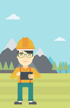 peak hat: An asian man in hardhat holding a tablet computer in hands on the background of mountain landscape. Man working on digital tablet. Vector flat design illustration. Vertical layout.