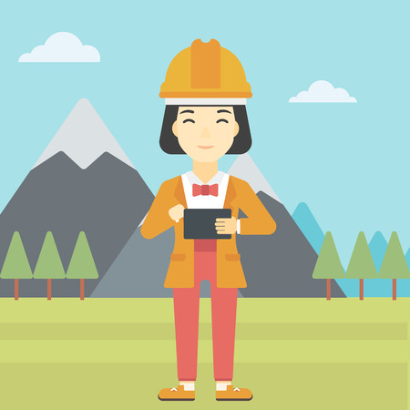peak hat: An asian woman in hardhat holding a tablet computer in hands on the background of mountain landscape. Woman working on digital tablet. Vector flat design illustration. Square layout.